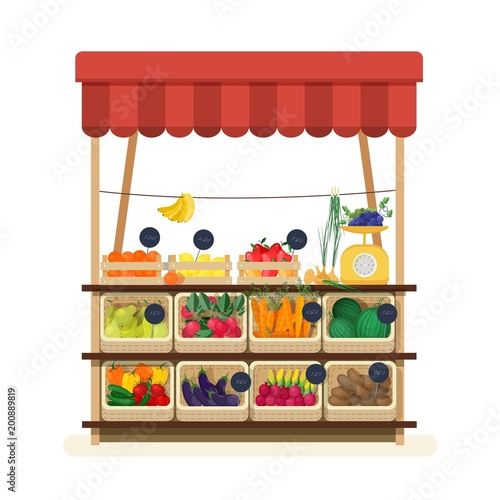 greengrocer s shop with awning  marketplace or counter with fruits  vegetables and price tags