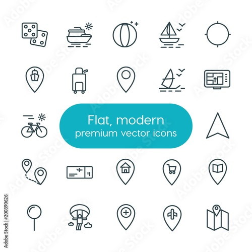Modern Simple Set of location, travel Vector outline Icons плакат