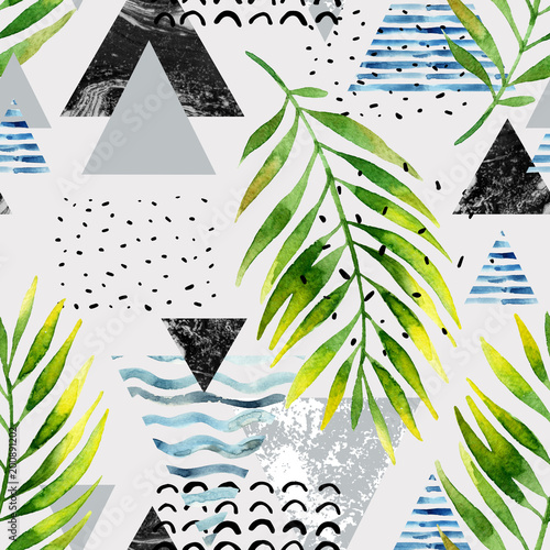 Photo sur Toile Empreintes Graphiques Triangles with palm tree leaves, doodle, marble, grunge textures, geometric shapes in 80s, 90s minimal style.