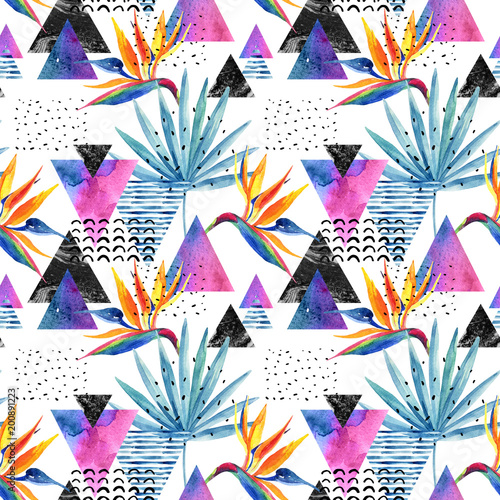 Watercolor exotic flowers, leaves, grunge textures, doodles seamless pattern in rave colors