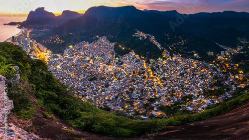 Panoramic View of Rocinha, the Largest Favela in Rio de Janeiro City, by Evening Tapéta, Fotótapéta