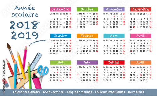 Calendrier Libre Office.2018 2019 Calendrier Annee Scolaire 3 Buy This Stock