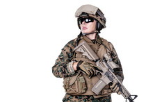 Female United States Marine With Rifle Weapons In Uniforms. Military Equipment, Army Helmet, Combat Boots, Tactical Gloves. Women Could Fight Concept