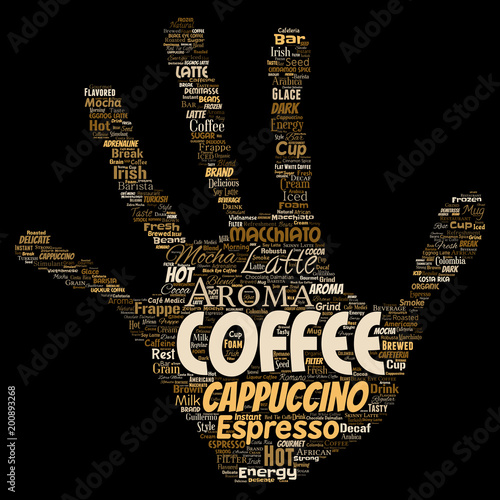 Wektorowego konceptualnego kreatywnie gorącego ranku przerwy przerwy cappuccino lub espresso restauraci lub bufeta napoju napoju słowa włosiana ręka druku odosobnionego. Powitalny tekst koncepcji napoju energii lub smaku