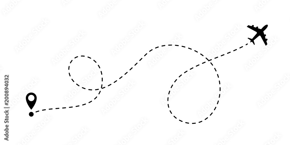 Fototapety, obrazy: Airplane line path vector travel line icon