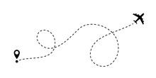 Airplane Line Path Vector Travel Line Icon