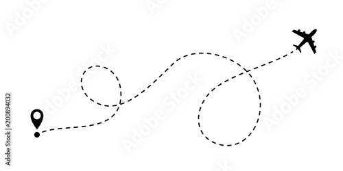 Obraz Airplane line path vector travel line icon - fototapety do salonu