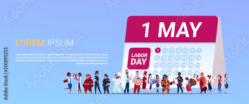 Labor Day Poster With Group Of People Of Different Occupations Standing Calender With 1 May Date Background Flat Vector Illustration