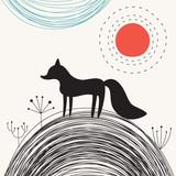 Sweet Fox. Vector illustration in Scandinavian style. Children's print. - 200896859