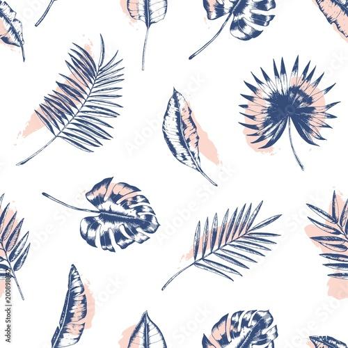 tropikalny-wzor-z-palmy-monstera-i-banan-pozostawia-rysowane-z-linii-konturu-przeciwko-rozowe-plamy-na-bialym-tle-tlo-z-lisci