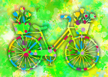 Vintage Colorful Bicycle Wit...