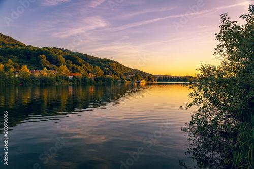 Austria, Lower Austria, St. Andrae-Woerdern, Greifenstein and Danube river at sunset