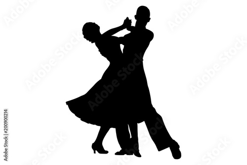 Fotografía couple dancers black silhouette on competition in ballroom dancing