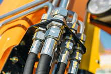 Hydraulic System, Steel Tubes And Rubber Parts Of Lifting Mechanism Of Modern Excavator, Agricultural Machinery
