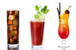 Set of alcohol drinks isolated on white background