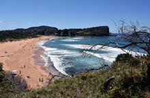Panoramic View Of Avalon Beach On A Sunny Day From Bilgola Head. A Great Place To Relax As The Beach Is Mainly Frequented By Locals.