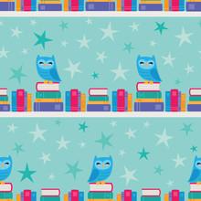 Vector Owl Bookshelf Stripe Se...