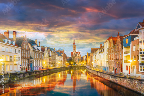 Poster Brugge Spiegelrei canal and Jan Van Eyck Square at sunset time, Belgium