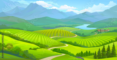 Landscape view of green meadows, mountains and a small town next to a river.