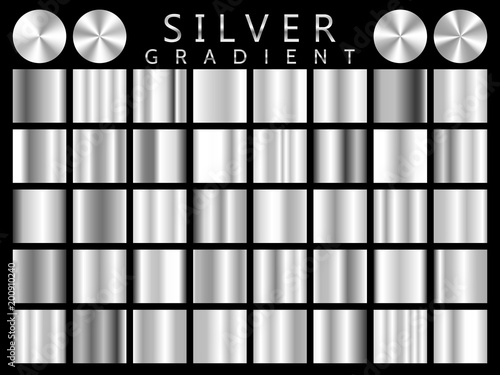 Fotografia, Obraz  Silver background texture vector icon seamless pattern