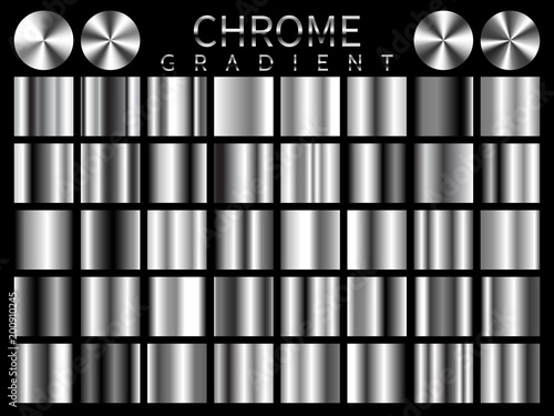 Fototapeta Chrome background texture vector icon seamless pattern. Light, realistic, elegant, shiny, metallic and chrome gradient illustration. Mesh vector. Design for frame, ribbon, coin, abstract obraz