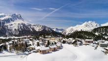 Alpine Village, Houses Covered With Snow. Winter Season In Engadine (Maloja Pass)