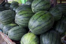 Green Water Melon Sales In Super Market