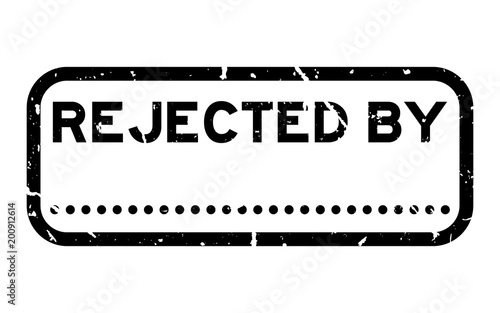 Grunge Black Rejected By With Dot For Signature Square Rubber Seal Stamp On White Background