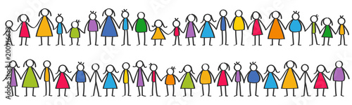 Cuadros en Lienzo Vector illustration of colorful male and female stick figures, children standing