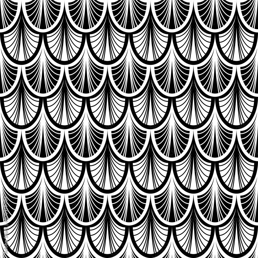 art deco monochrome seamless pattern