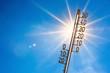 Leinwanddruck Bild - Summer background, bright sun with thermometer