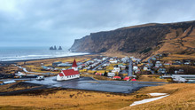 Beautiful Red Church And Vik Village, Iceland.
