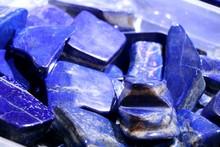 Cobalt Blue Lapis Lazuli Stones. Selected Focus. Minerals Exhibition.