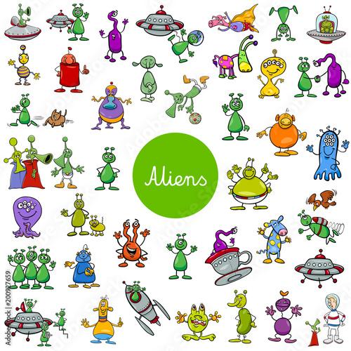 cartoon alien fantasy characters large set