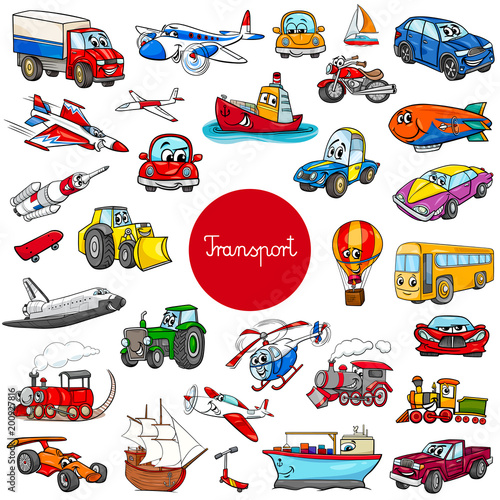 Tuinposter Cartoon cars cartoon transportation vehicle characters big set