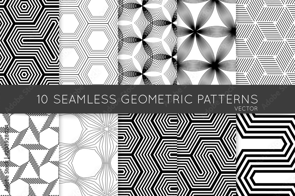 Fototapeta Collection of black and white seamless patterns
