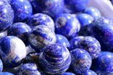 Cobalt Blue Lapis Lazuli Balls. Selected Focus. Minerals Exhibition.