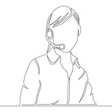 Continuous Line Female Customer Service Operator
