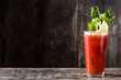 canvas print picture - Bloody Mary cocktail in glass on white background.Copyspace