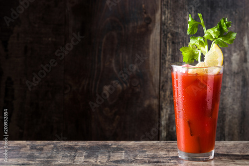 Photo sur Aluminium Cocktail Bloody Mary cocktail in glass on white background.Copyspace