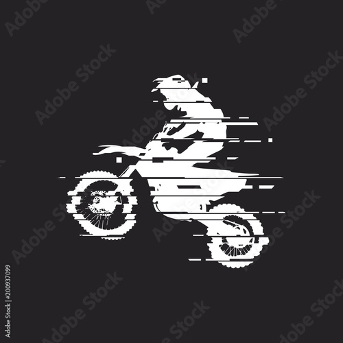 Glitch motocross drivers silhouette Wall mural