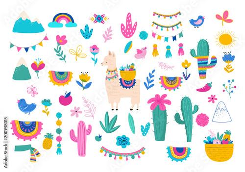 Llama illustration, cute hand drawn elements and design for nursery design, post Canvas Print