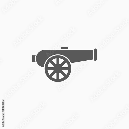 Photo cannon icon, artillery vector