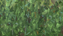 Oil Painting On Canvas. Rough Texture Of Large Brush Strokes. Abstract Texture Of Pine Forest In The Mountains On A Sunny Summer Day.