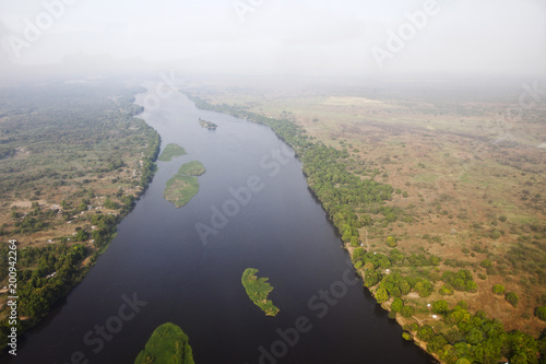Aerial view of the White Nile River in Juba, capital of South Sudan.