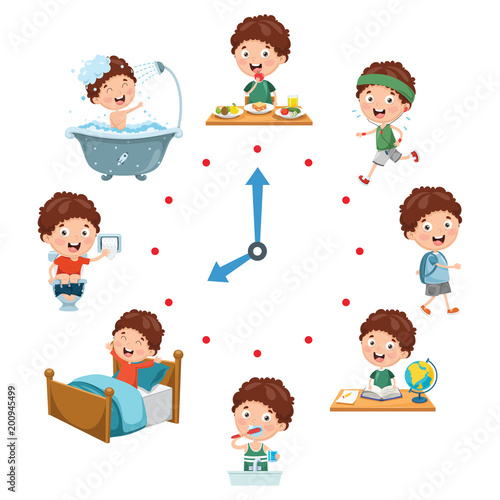 Photo  Vector Illustration Of Kids Daily Routine Activities