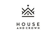 King Queen Crown House Real Estate Building Apartment Premium Elegant Luxury Logo Design