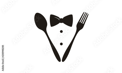 Fotografía  Bow Tie, Tuxedo, Spoon and Fork for Restaurant logo design inspiration