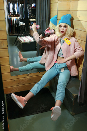 real girl looks like a barbie doll in shop on sale Wallpaper Mural