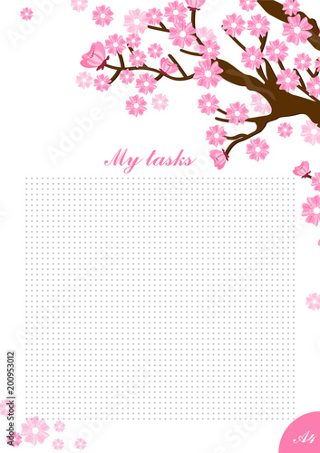 vector illustration a4 card for write inspiration with sakura tree